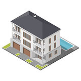 Modern three storey house with slant roof sometric icon set
