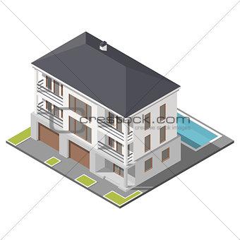 Modern three storey house with slant roof sometric icon set