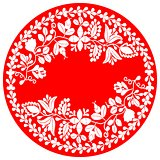 White vector wreath isolated on red background