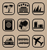 Tourism icons set