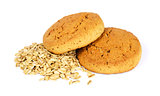 Oatmeal cookies and oat flakes.