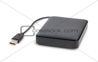Black external hard disk with cable