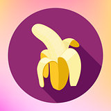 banana flat long shadow icon