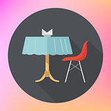 table chair napkins vector flat