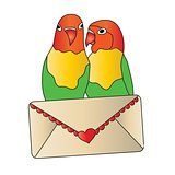 Love Birds with Love Letter