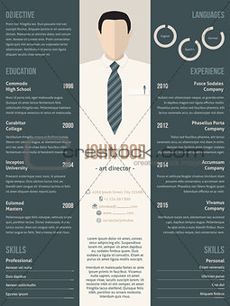 Modern resume cv template with business suit