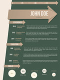 Modern resume cv template with brown ribbon