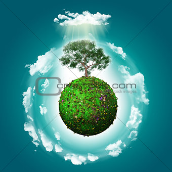 3D grassy globe with a tree and clouds