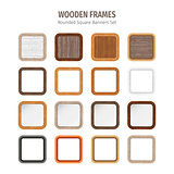 Wooden Rounded Square Banners Set