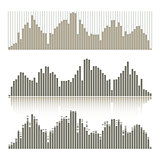 Set of graphic equalizers on a white background.