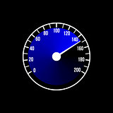 Blue speedometer illustration design on a black background.