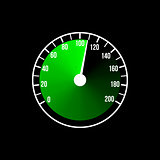 Green speedometer illustration design on a black background.