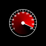 Red speedometer illustration design on a black background.
