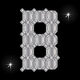 Metal letter B. Gemstone. Geometric shapes