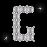 Metal letter G. Gemstone. Geometric shapes