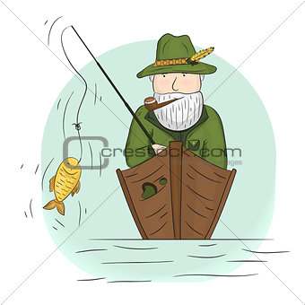 Fisherman in a boat with a fishing rod.