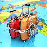 Security and safety of baggage or end of travelling concept. Lug