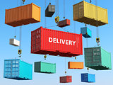 Delivery background concept. Cargo shipping containers in storag
