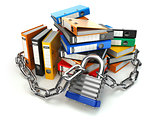 Information protection.  File folder and chain with lock. Data a