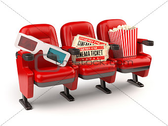 Cinema movie concept. Red seats with tickets, popcorn and 3d gla