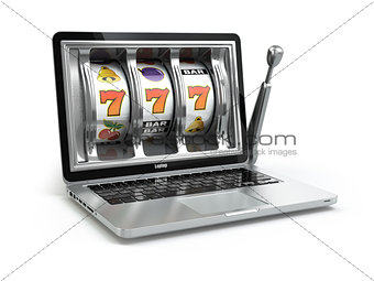Casino online concept, gambling. Laptop slot machine.
