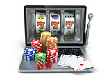 Casino online concept, gambling. Laptop slot machine with dice a
