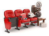 Cinema, movie or home video concept. Seats with reels, popcorm a