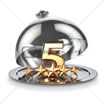 Five stars on cloche. Service rating concept of restaurant or ho