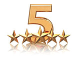 Golden five stars. Service rating of hotels.
