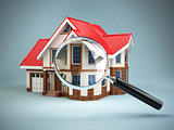 House and loupe magnifying glass. Real estate searching concept.