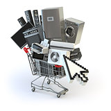 Home appliances in the shopping cart and cursor. E-commerce or o