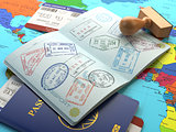 Travel or turism concept. Opened passport with visa stamps with