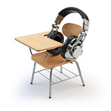 Webinar training or audiobooks  concept. E-learning education on