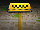 Taxi sign on the city map. Concept of taxi online service. Space