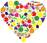 Vegetable and fruits heart
