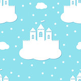 Seamless pattern with white castles on blue background. White paper castle on a cloud in paper cut style, vector format