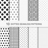 Dotted patterns. Seamless vector collection.