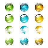 World Multicolored Globe Logo or Icon Collection