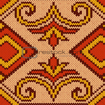Knitted Seamless Pattern mainly in red and yellow