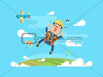 Skydiving sport flat