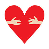 Heart In Hands hug vector donation encourage illustration