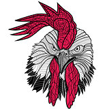 Chicken rooster head design for t-shirts isolated on white background. Vector illustration tattoo of a cock.