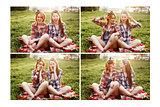 Two Young Beautiful Women Resting and Having Fun