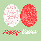 Greeting card with painted Easter eggs