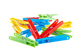 Set color clothes-pegs over white
