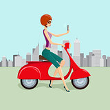 Cute woman on Red Scooter Making Selfie