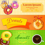 Set of bakery or coffee shop banners, flyers