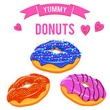 Donuts set. Collection of tasty donuts with different icings