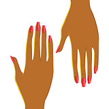 Two female hands with beautiful red manicure. Vector hands