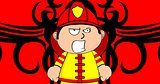 angry young firefighter kid cartoon background